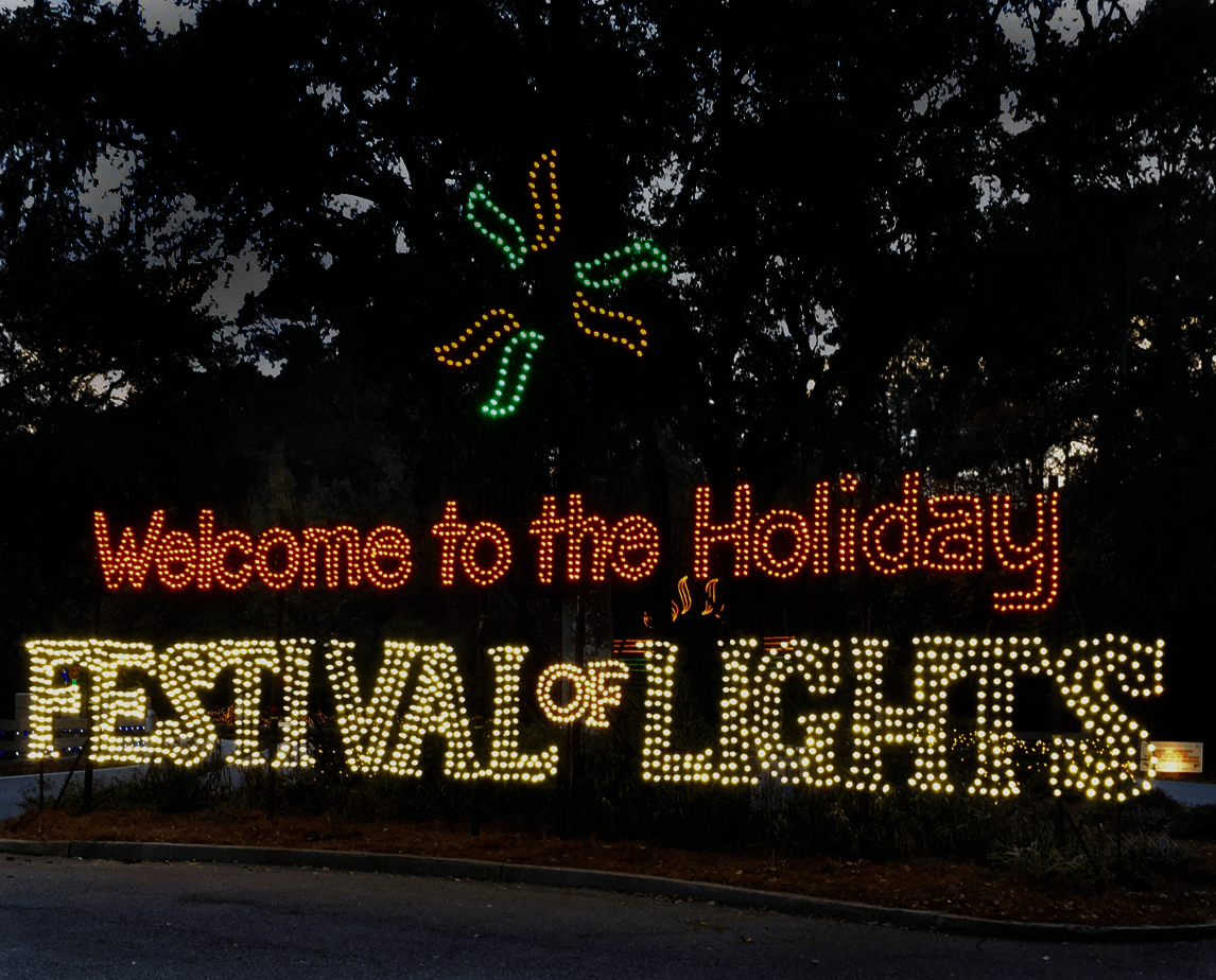 Holiday Festival of Lights Lighted Park Entrance Sign