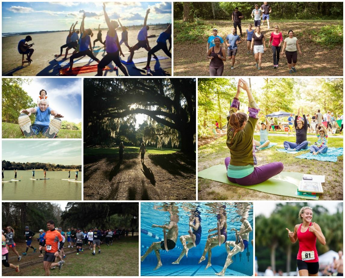 Collage of fitness activities