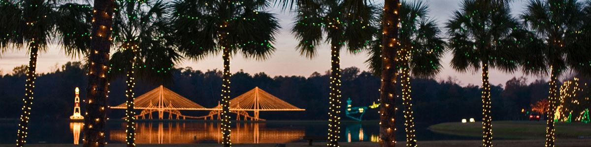 Lighted bridge and palmetto trees at the Holiday Festival of Lights