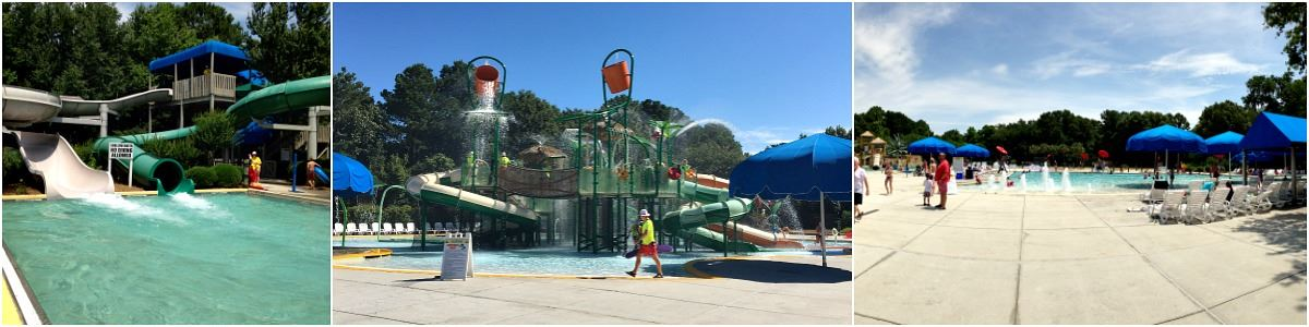 Image of the slides, rainforest structure, and activity pool at Splash Zone Waterpark