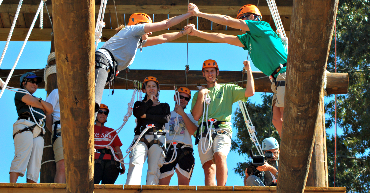 Image of participants on the high course element of The Challenge Course