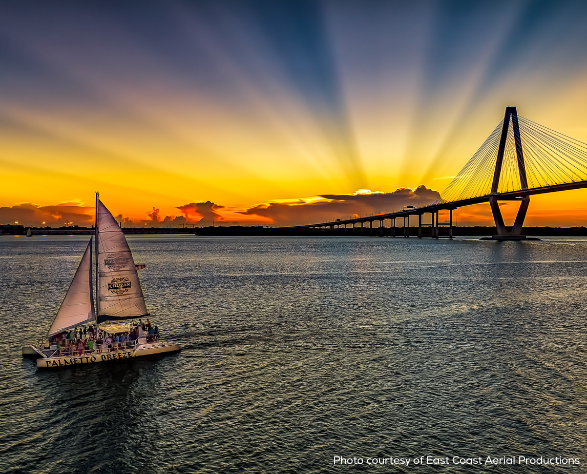Image of The Palmetto Breeze catamaran on Charleston Harbor at sunset courtesy of East Coast Aerial