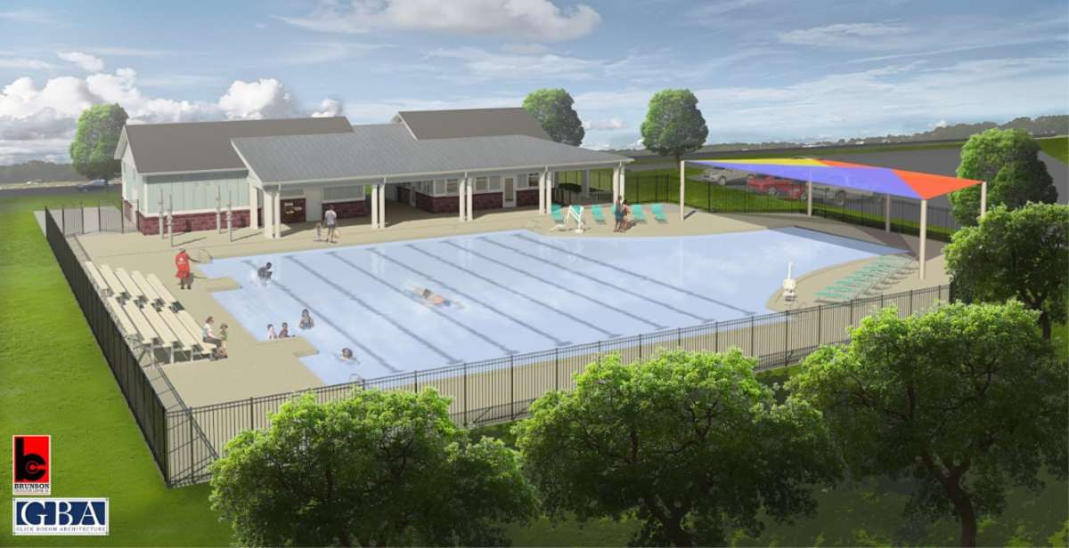 Artist rendering of the West County Aquatic Center with pool and building surrounded by trees