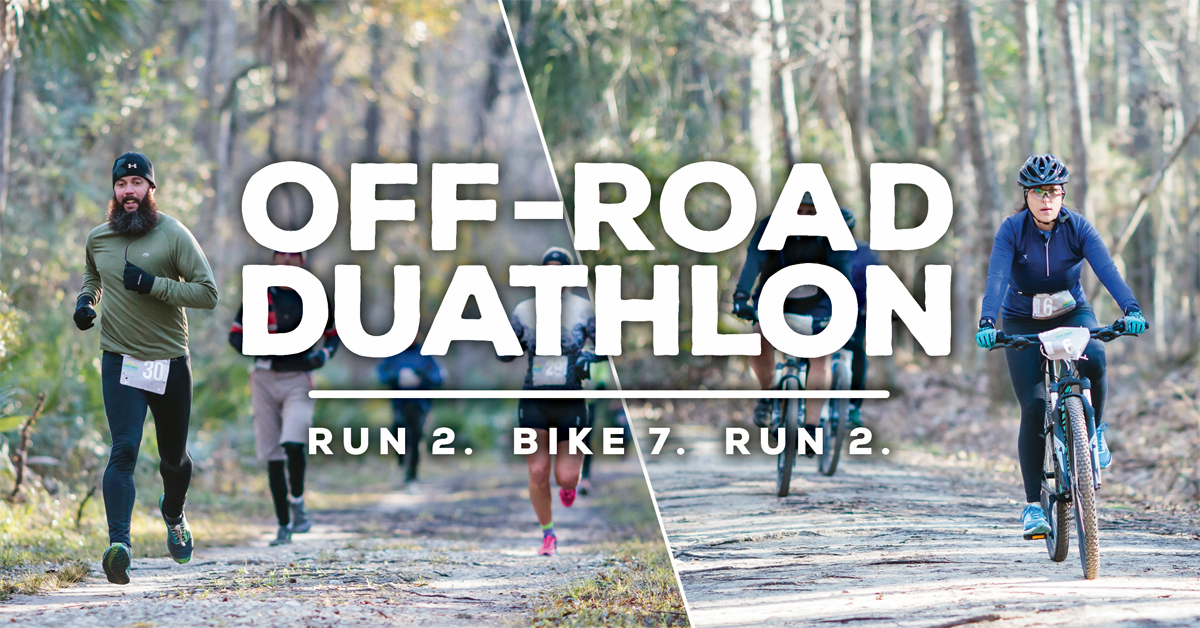 Bikers and runners on wooded trails participating in the Off-Road Duathlon