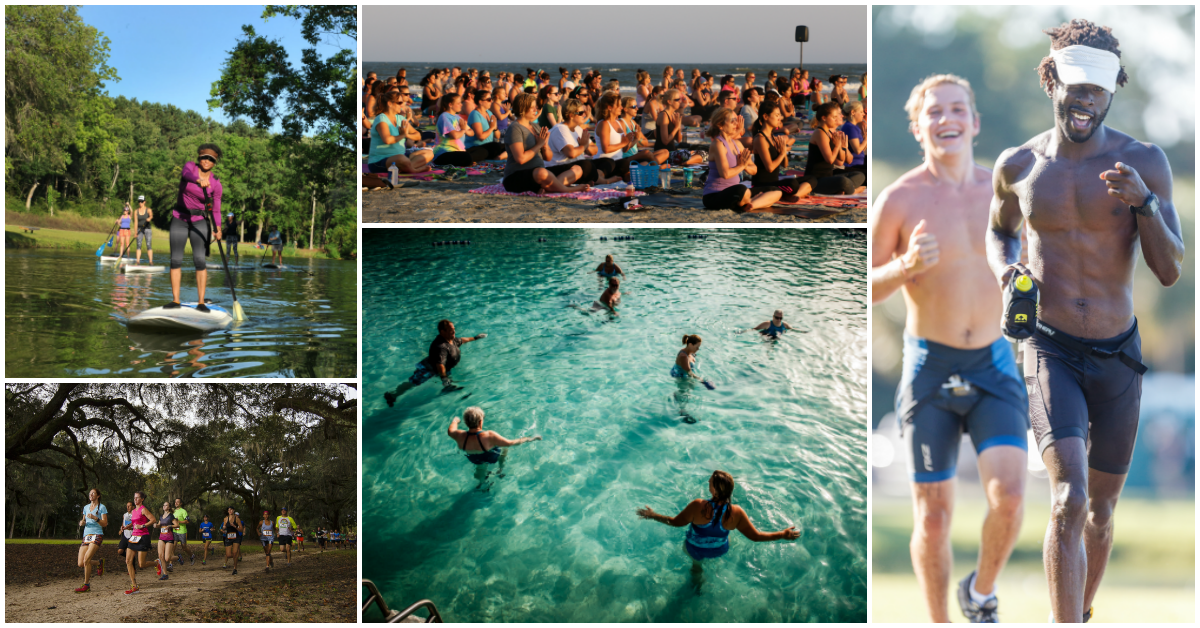 Fitness activities collage: train running, water aerobics, yoga, triathlon swimming, stand up paddle