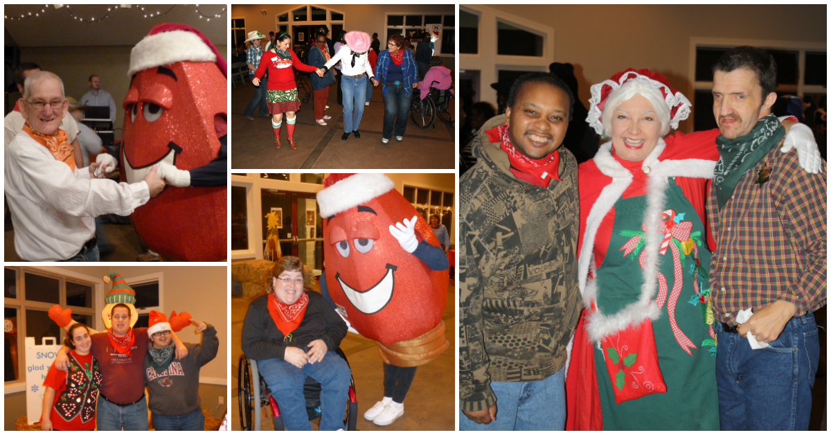 Holiday Hoedown Collage of participants dancing and posing for the camera