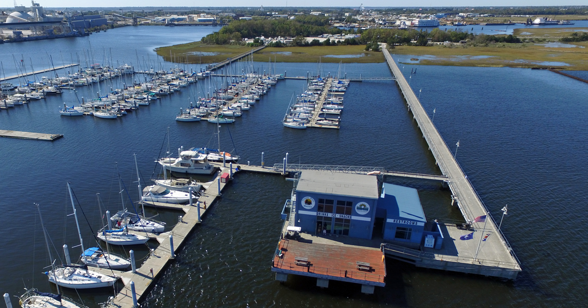 Aerial view of the Cooper River Marina