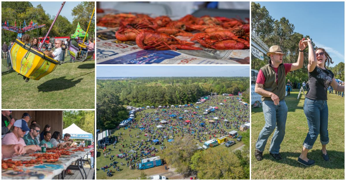 Collage of Cajun Festival images like rides, crawfish, dancing, and an aerial view