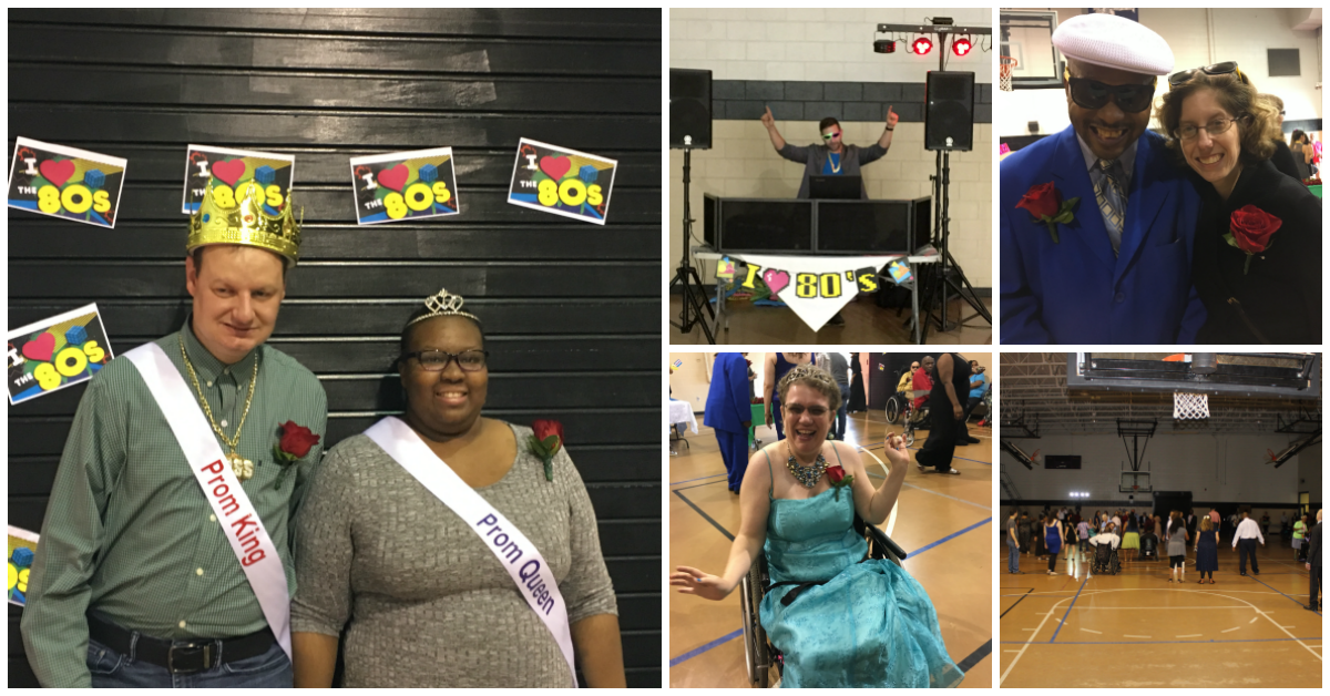 five images of people at the Special Needs Prom - the dj - the prom king and queen - a large group o