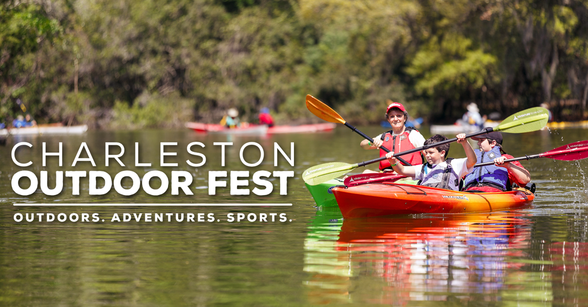 A woman and two children kayaking on the lake during the Charleston Outdoor Fest