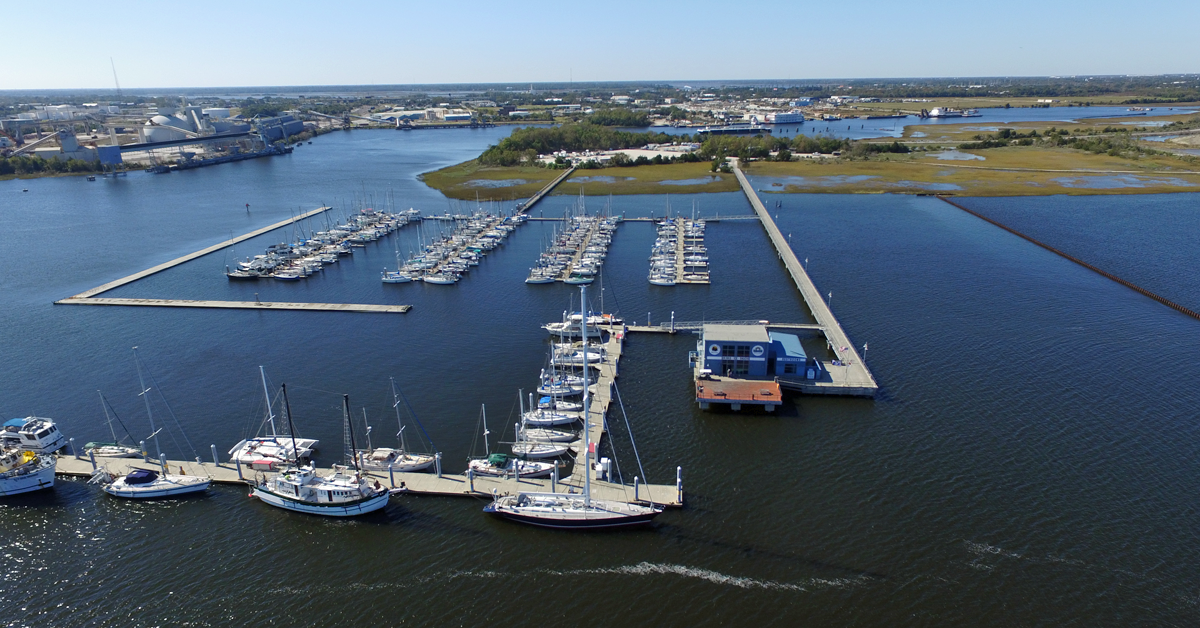 Aerial view of the Cooper River Marina showing the docks, boats, and Ships Store