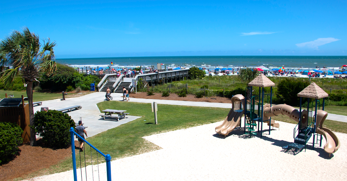 Beach, boardwalk, and playground at Isle of Palms County Park