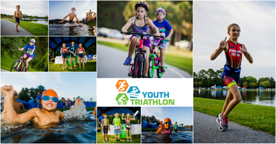 Collage of youth triathletes swimming, running, and biking