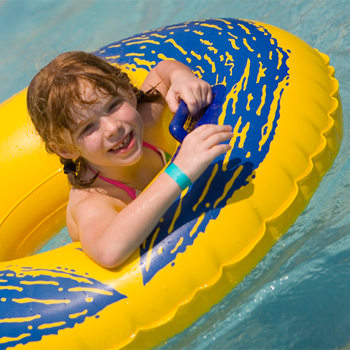 Girl in an innertube at the waterpark
