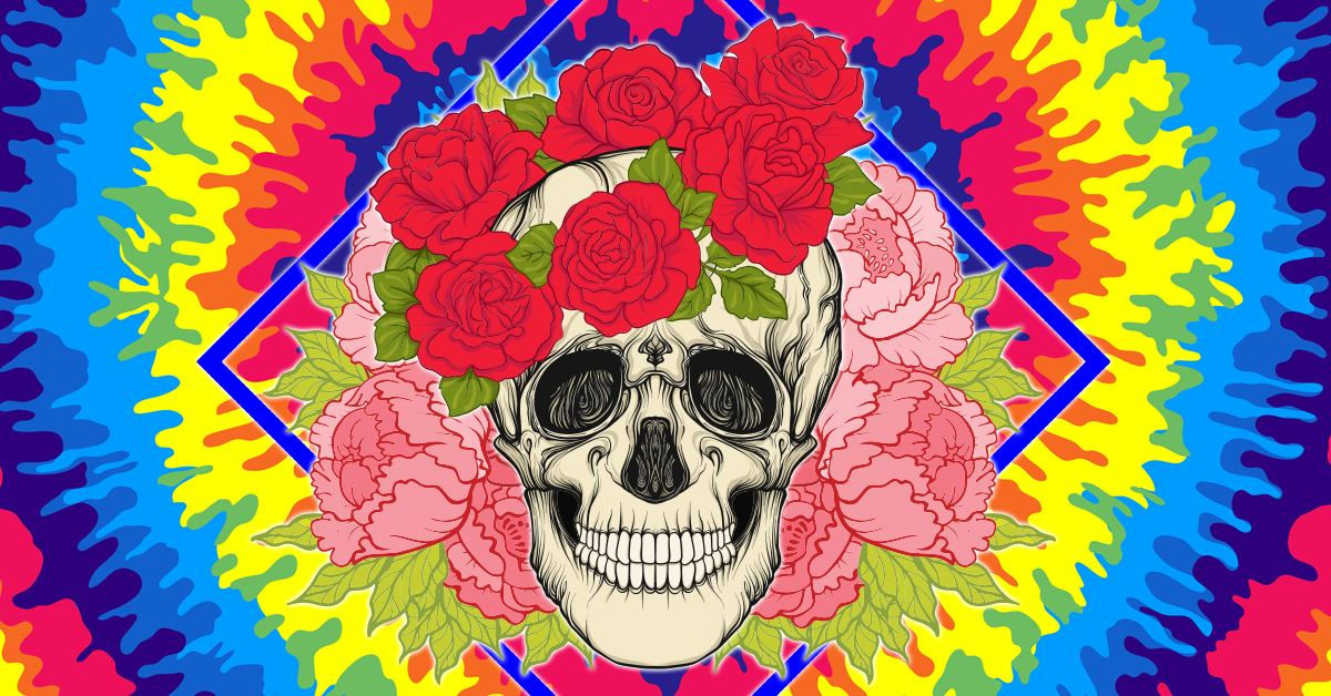 Artistic Image of Tie-Die, Skull and Roses in the style of the band, The Grateful Dead