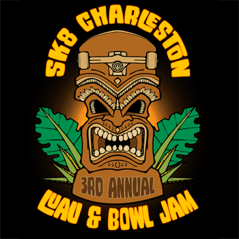 Wood tiki and SK8 Charleston Hawaiian Luau and Bowl Jam