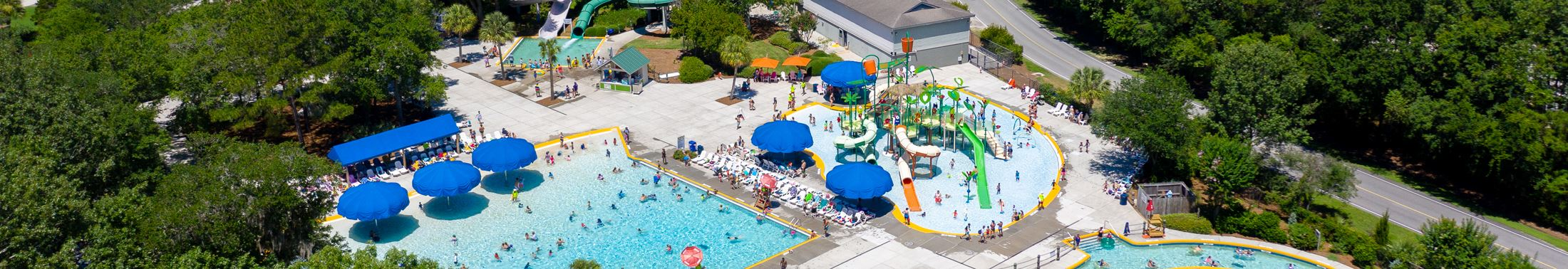 View of the pool and slides at Splash Zone Waterpark