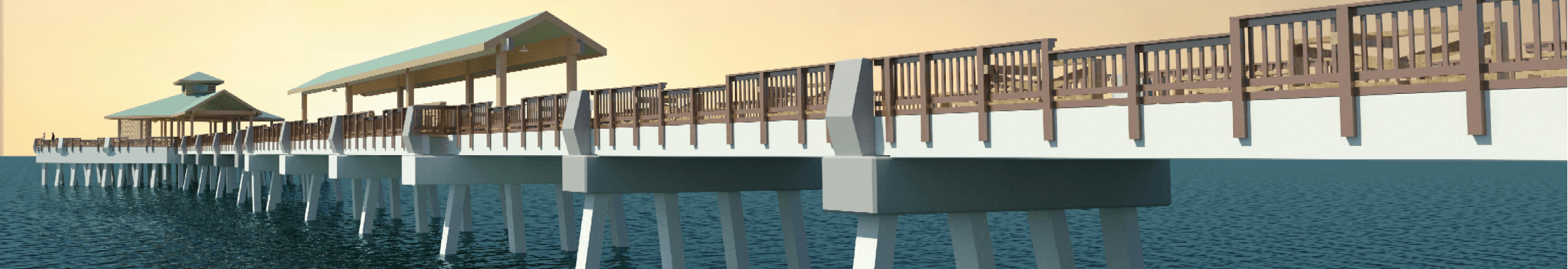Digital rendering images for the new Folly Beach Pier