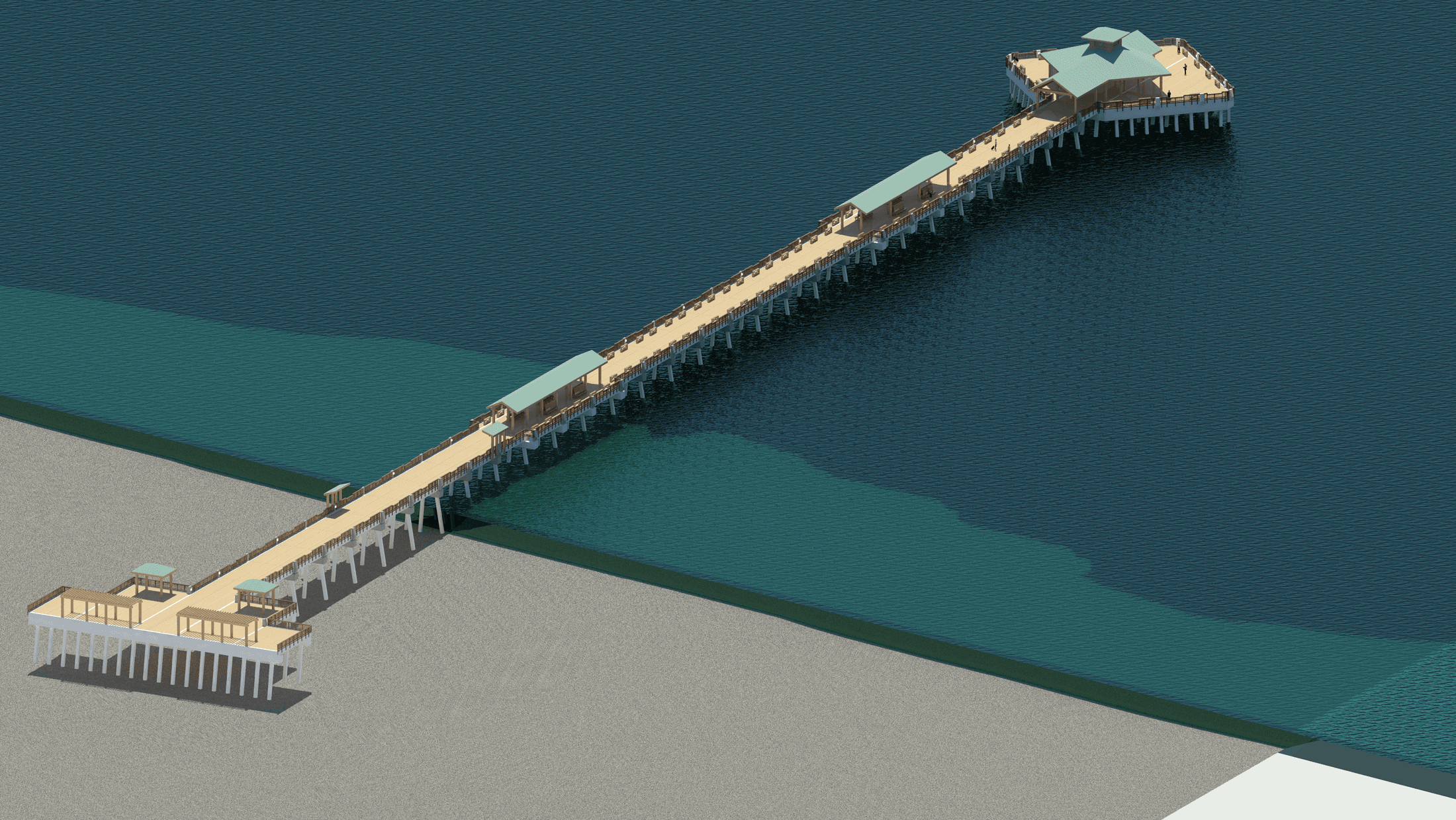 Digital rendering of the replacement Folly Beach Pier