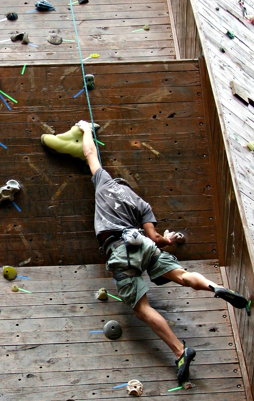 Man climbing on the wall during Palmetto Pump Climbing Competition