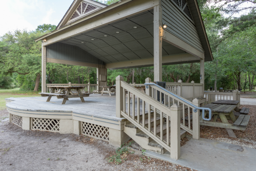 Exterior of Picnic Center Stage at James Island County Park