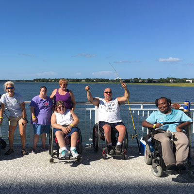 Adaptive fishing participants at the Mount Pleasant Pier