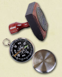 Images of a rubber stamp and a compass