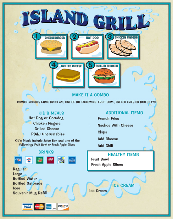 Image of the Island Grill Menu