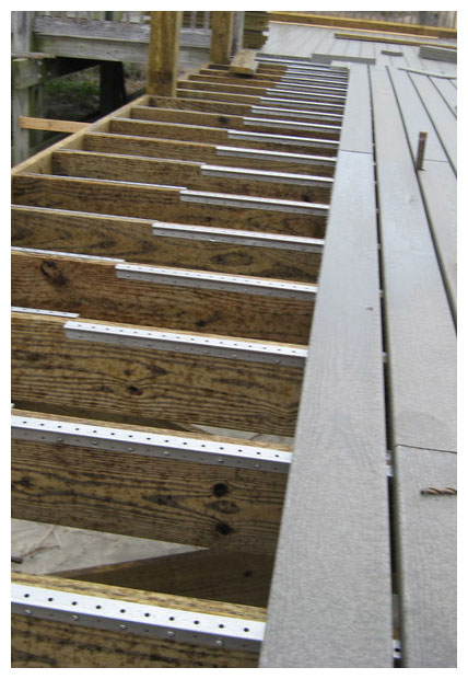Image of the installation of composite wood decking at Isle of Palms County Park