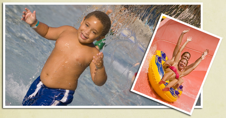 Image of a young boy playing at thewaterpark and two women riding an innertube down a water slide