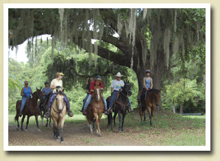 Group of trail riders at Mullet Hall Equestrian Center